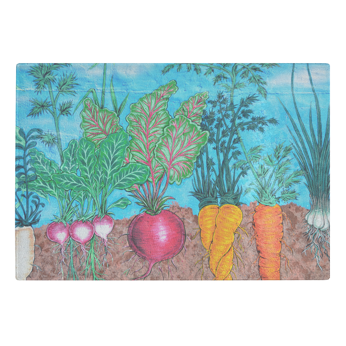 The root vegetables- glass cutting board
