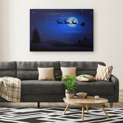 Santa and reindeers at work - Rectangle Gallery Canvas wall art