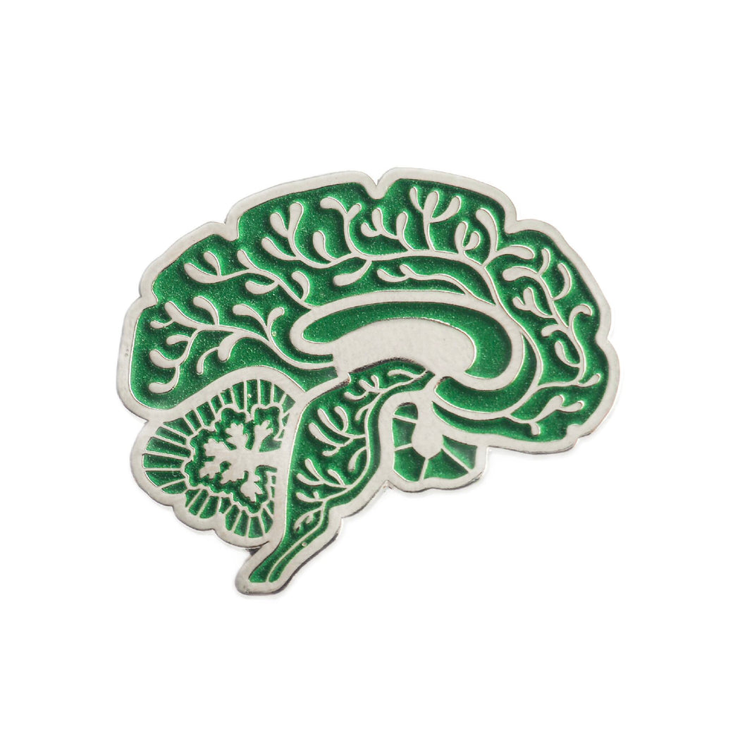 Vascular Sagittal Brain Enamel Pin - Green Glow in the Dark