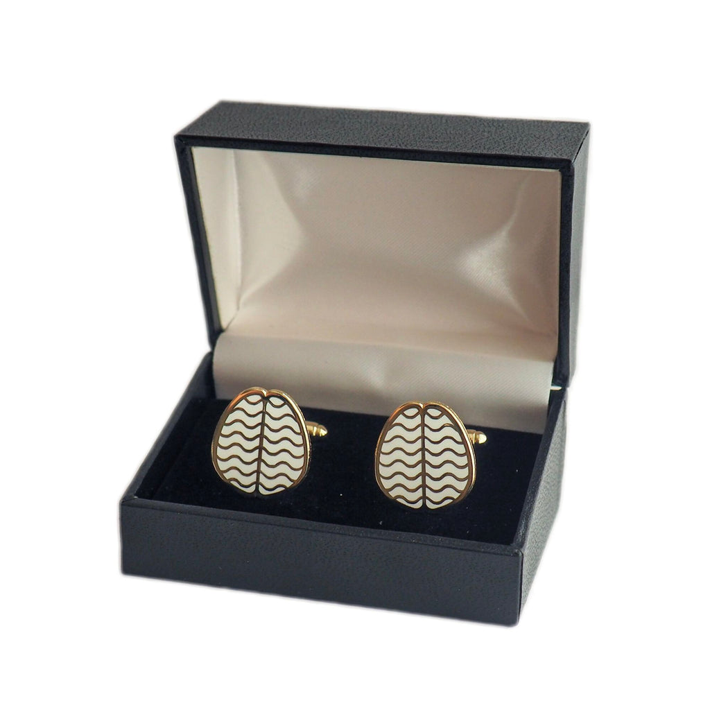 Brain Cufflinks - Gold and White