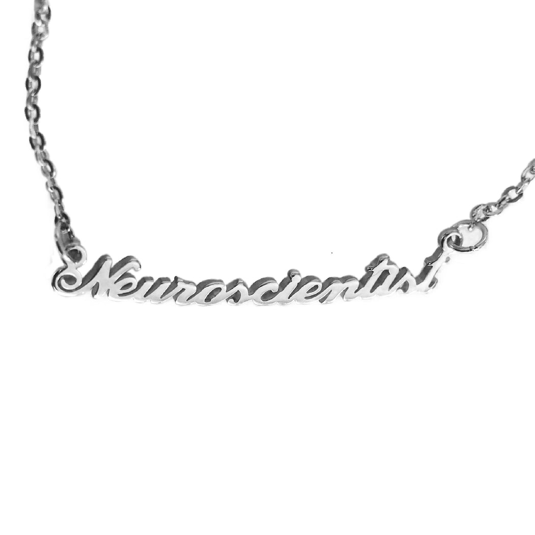 Neuroscientist Nameplate Necklace - Silver