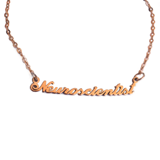 Neuroscientist Nameplate Necklace - Rose Gold