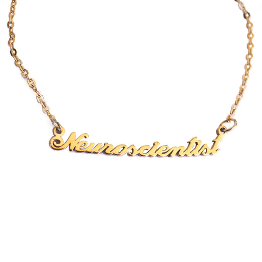 Neuroscientist Nameplate Necklace - Gold