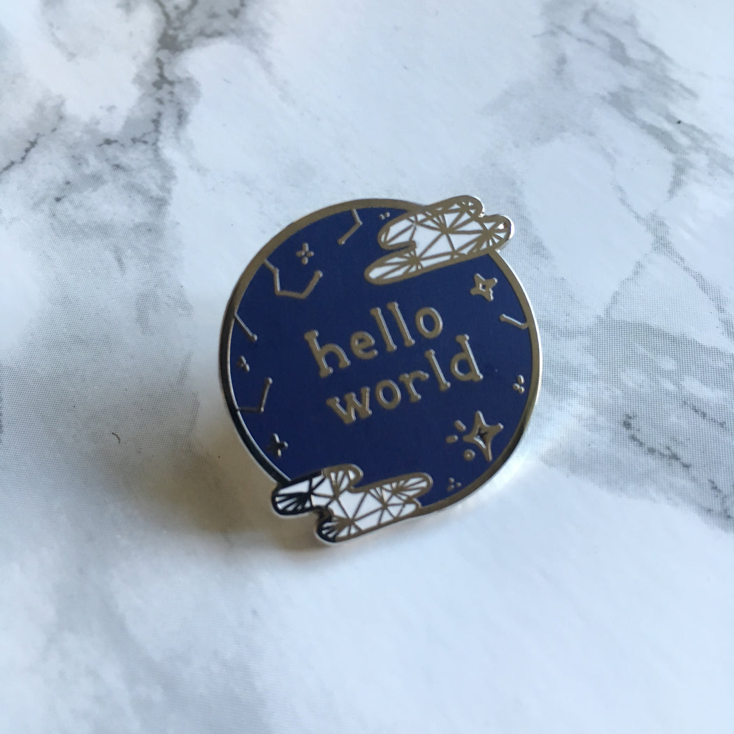 Hello World Enamel Pin - Indigo