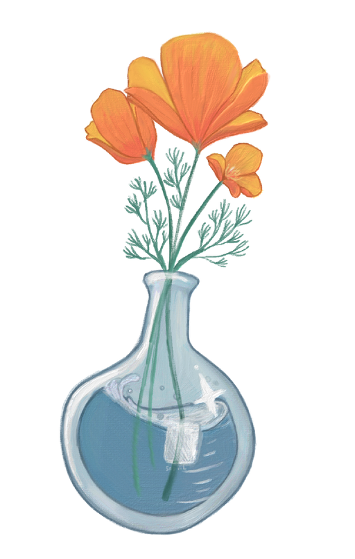 Flower Lab Flask Sticker