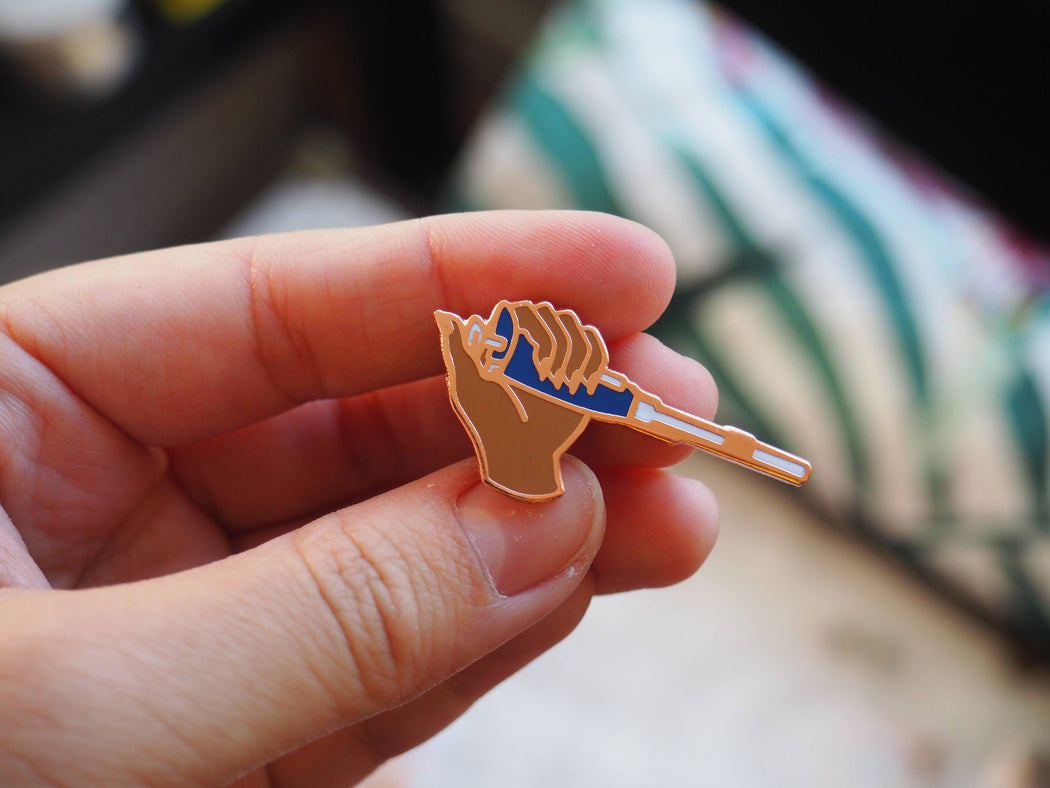 Brown Left Handed Pipette Enamel Pin