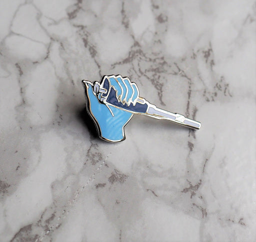 Pipette Enamel Pin - Blue Left Hand