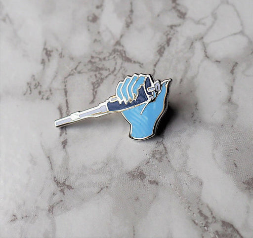 Pipette Enamel Pin - Blue Right Hand