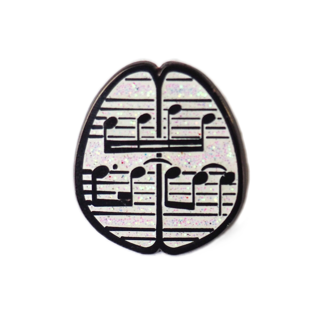 Music Brain Enamel Pin - Glitter