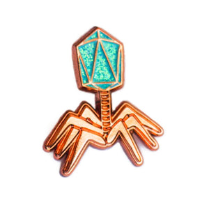 Phage Enamel Pin - Blue and Copper