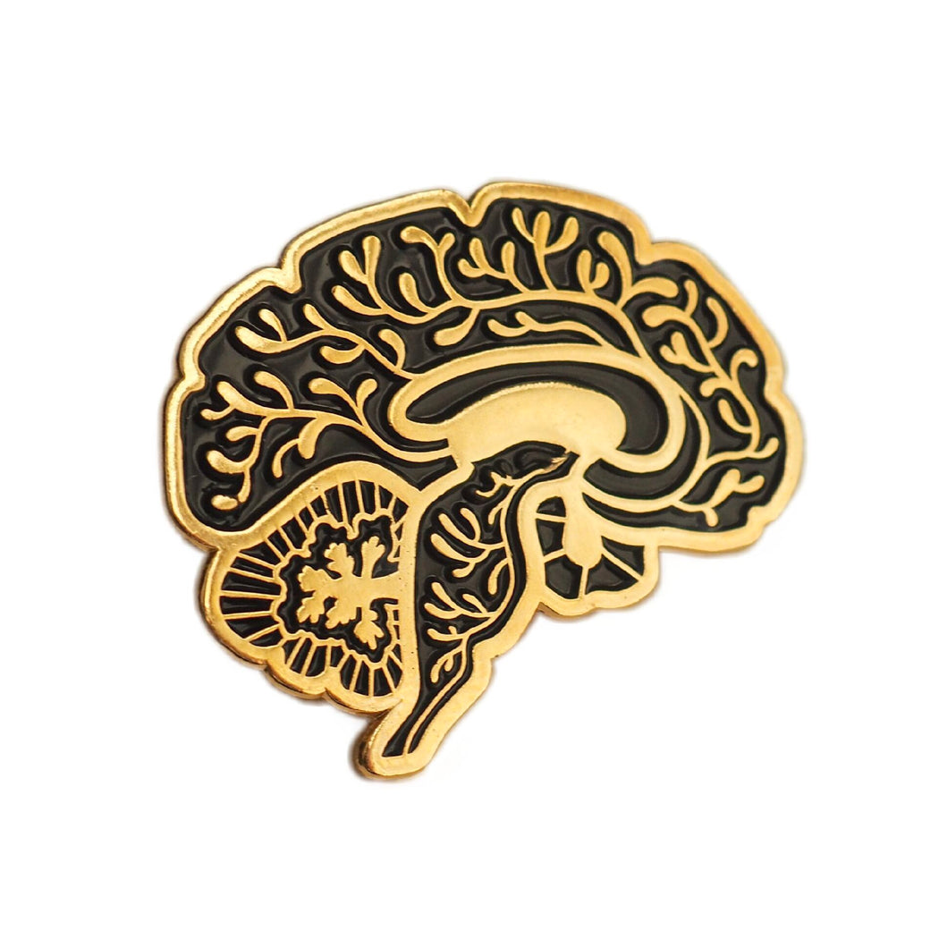 Vascular Sagittal Brain Enamel Pin - Black and Gold