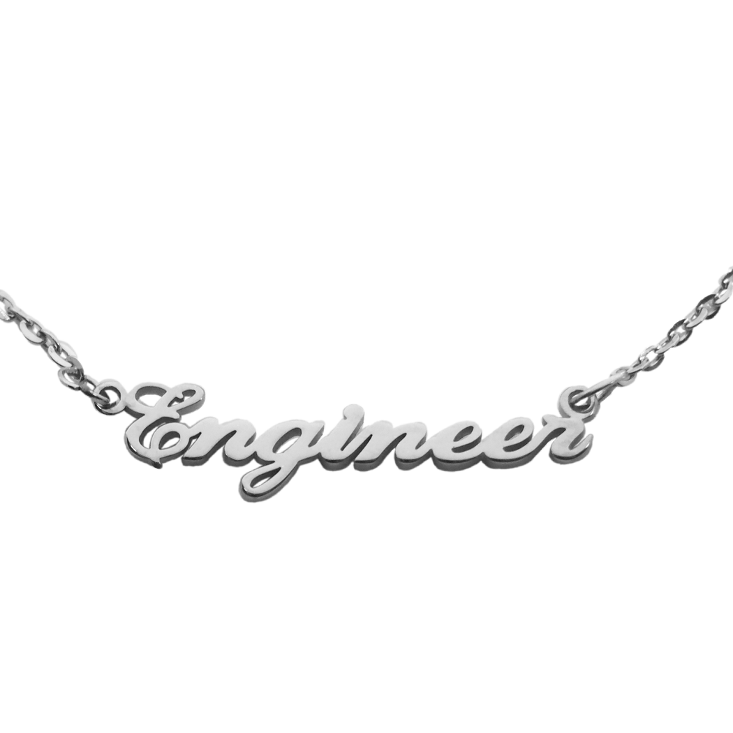 Engineer Nameplate Necklace - Silver