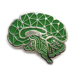 Sagittal Brain Enamel Pin - Green Glow in the Dark