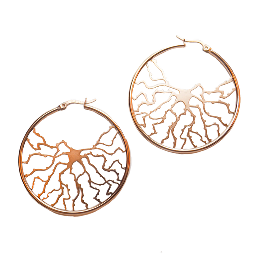 Neuron Hoop Earrings - Rose Gold