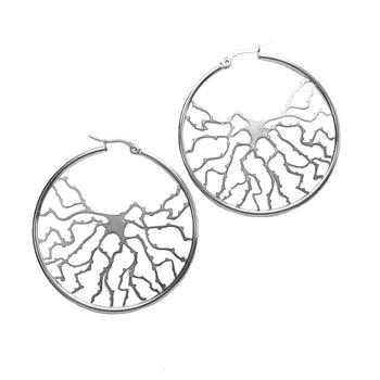Neuron Hoop Earrings - Silver