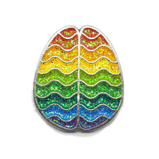 Rainbow Pride Brain Enamel Pin