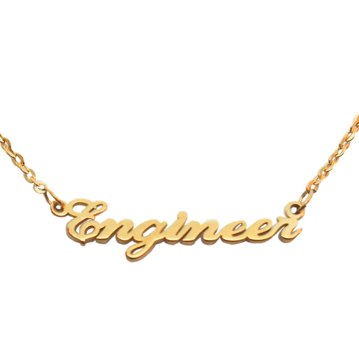 Engineer Nameplate Necklace - Gold
