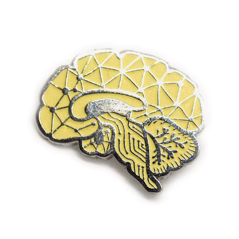 Sagittal Brain Enamel Pin - Yellow Glow in the Dark