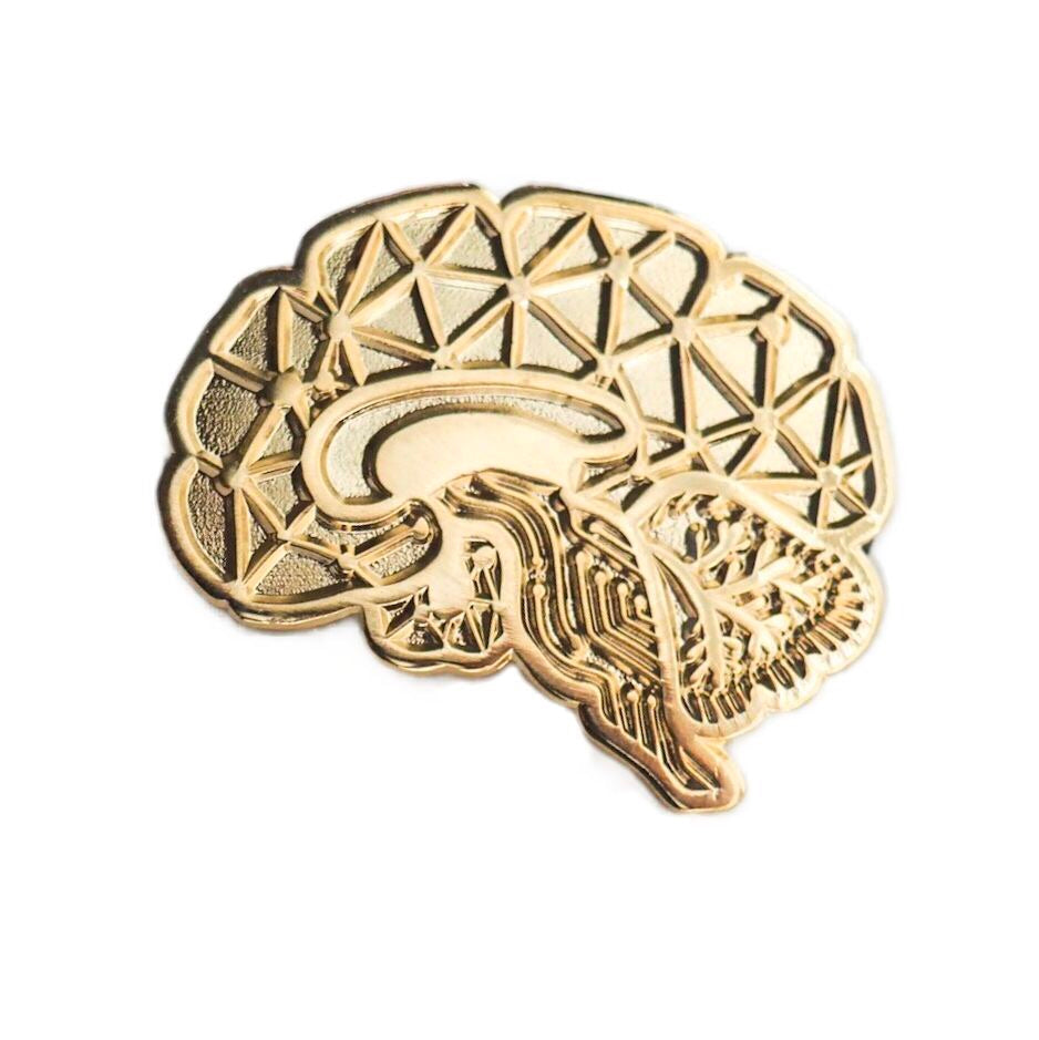 Sagittal Brain Enamel Pin - Gold