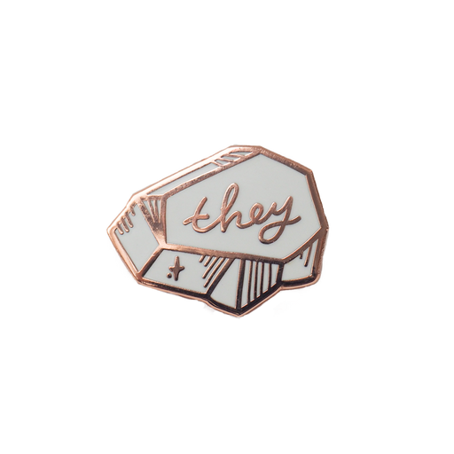 Pronoun Pin - White and Rose Gold