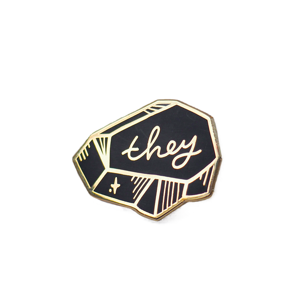 Pronoun Pin - Black and Gold