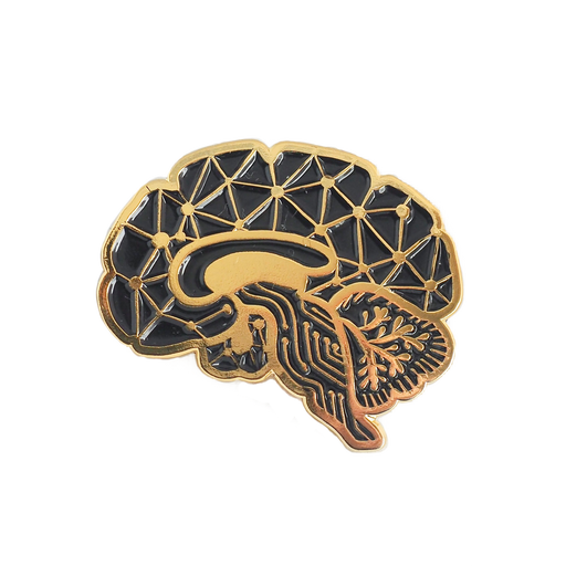 Circuit Sagittal Brain Enamel Pin - Black & Gold