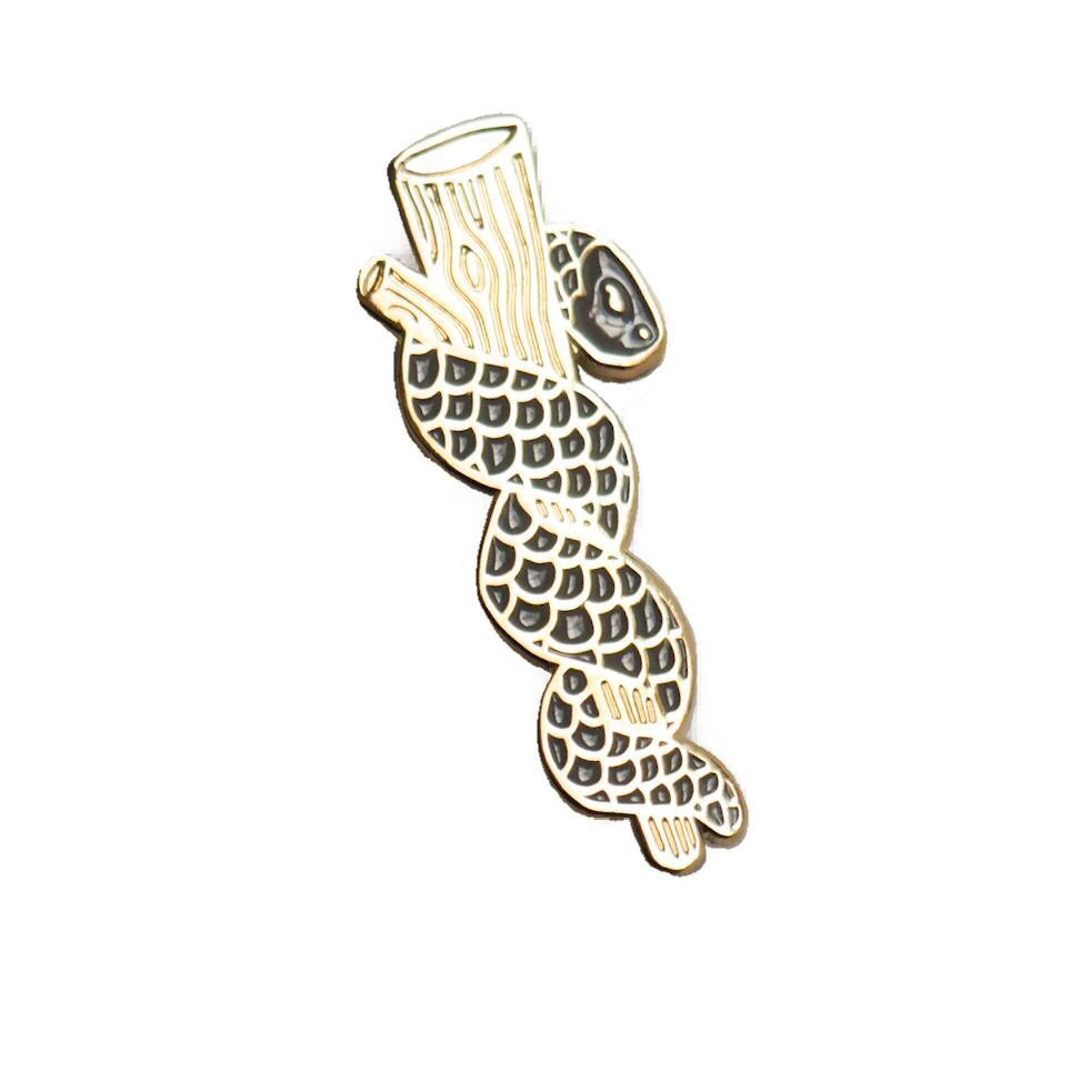 Rod of Asclepius Gold Enamel Pin - Dark Grey