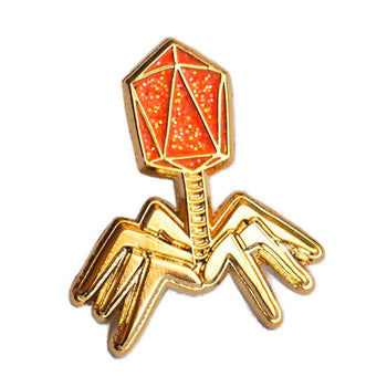 Phage Enamel Pin - Orange Glitter