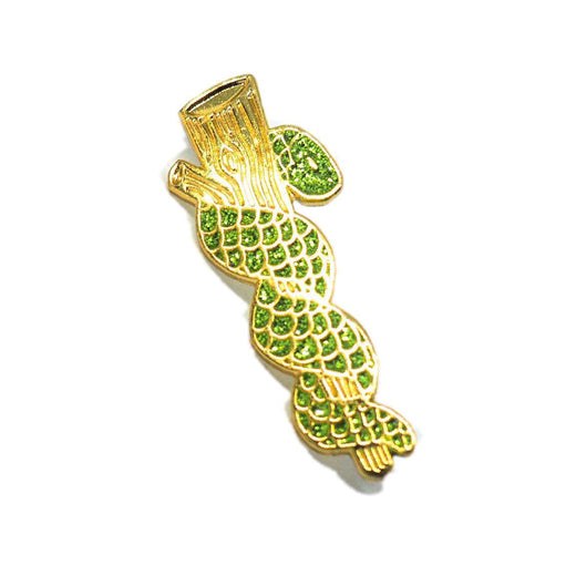 Rod of Asclepius Gold Pin - Green Glitter