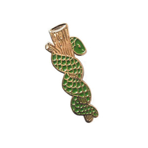Rod of Asclepius Gold Pin - Green