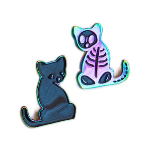 Schrödingers Cat - Radioactive Rainbow Black Pin Set
