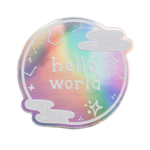 Hello World Holographic Sticker