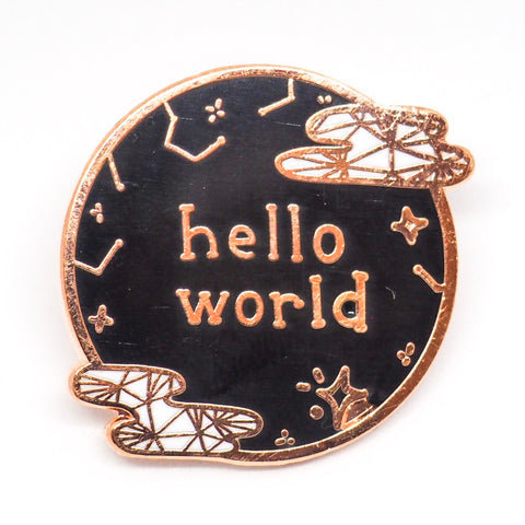 Hello World Enamel Pin - Black