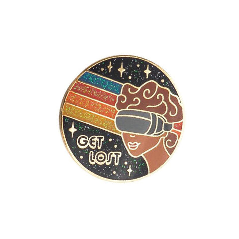 Get Lost Virtual Reality Enamel Pin - Glitter