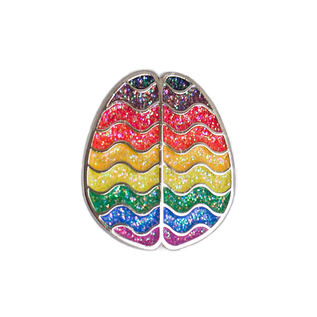 Black & Brown Rainbow Pride Brain Enamel Pin