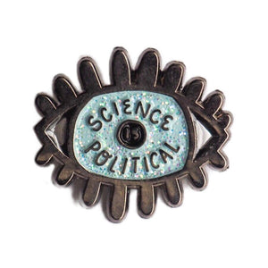Science is Political Eye Enamel Pin - Blue and Black