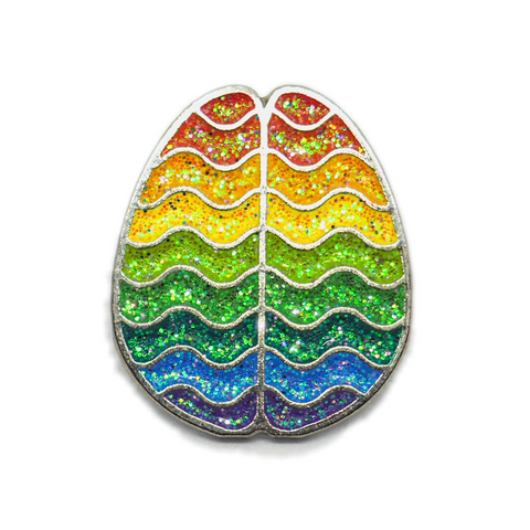 Rainbow Horizontal Brain Enamel Pin