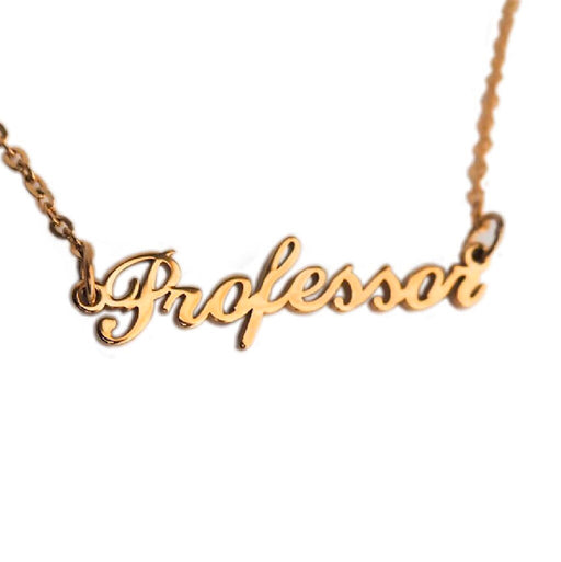 Professor Nameplate Necklace - Gold