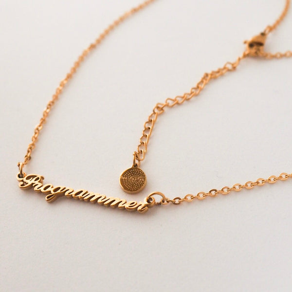 Programmer Nameplate Necklace - Gold
