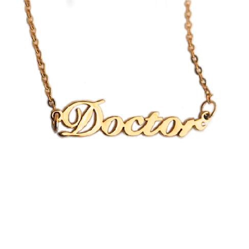 Doctor Nameplate Necklace - Gold