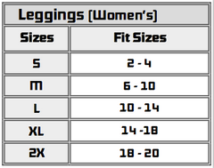 Saucer Women's Leggings Size Chart