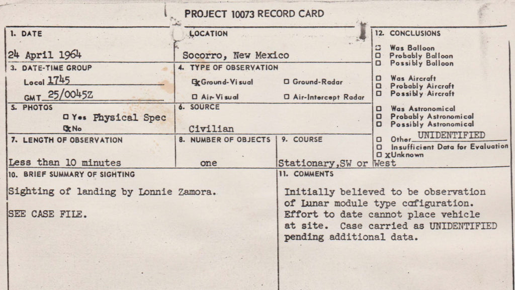 Project Blue Book Report Card - Lonnie Zamora Incident