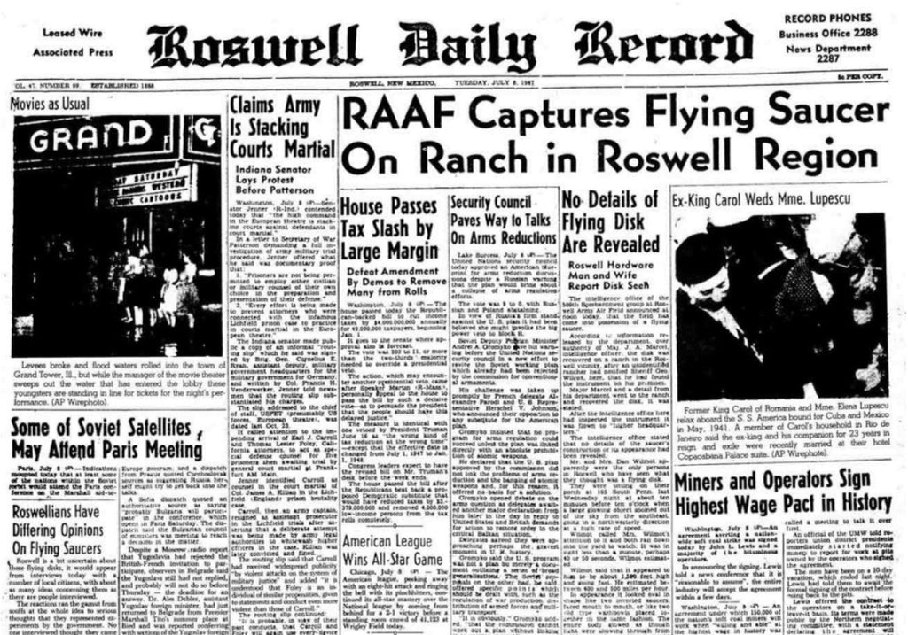 Roswell Daily Record Newspaper - July 8th, 1947