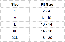Saucer Raw Neck Tee Size Chart