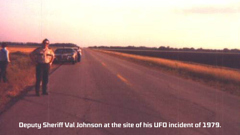 Deputy Sheriff Val Johnson at the site of his UFO incident of 1979