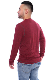 Berry Red Long Sleeve Tee Back View