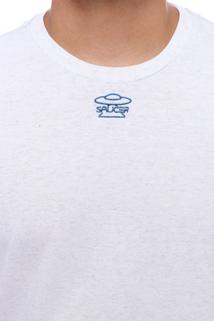 White Long Sleeve Tee Detail View