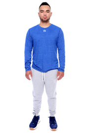 Royal Blue Long Sleeve Tee Full Model View