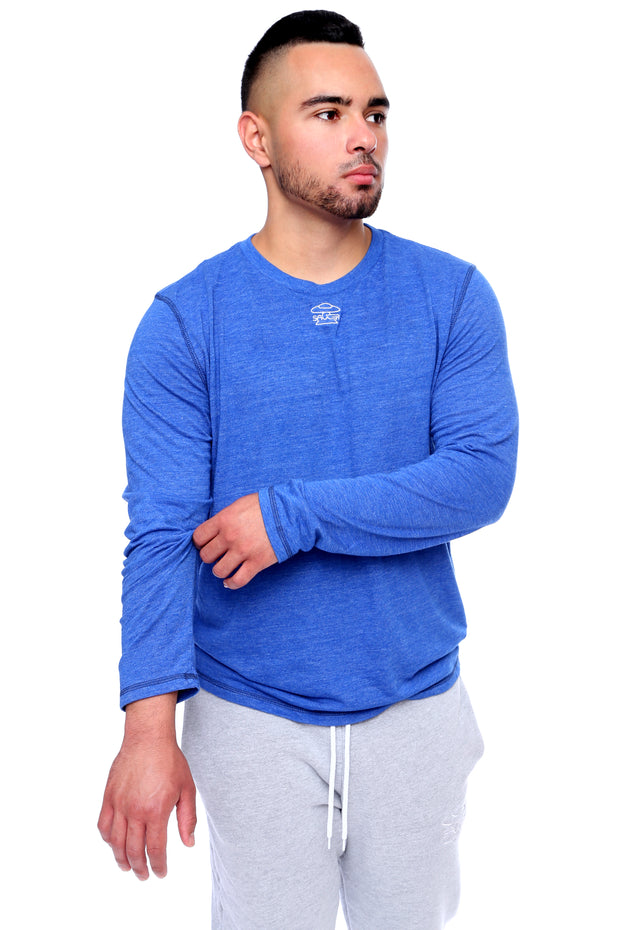 Royal Blue Long Sleeve Tee Model View