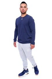 Navy Long Sleeve Tee Full Model View
